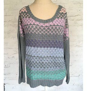 American Eagle knit sweater gray stripes pink NWOT